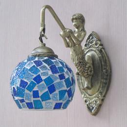 mosaico mediterrâneo Desconto JESS Novo estilo Mediterrâneo Art Deco Turco Mosaico Lâmpada de Parede Artesanal de Vidro mosaico romântico luz de parede