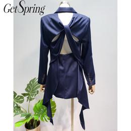 Schwalbenanzug online-GetSpring Frauen Blazer Langarm Zweireiher Blazer Backless Swallow Tail Womens Jacke Sexy Blue Fashion Suit Coat
