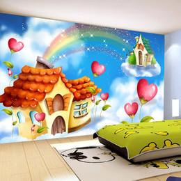 2019 schönheit stoff blau Blauer Himmel Weiße Wolken Regenbogen Schloss Wandbild Papel De Parede 3D Kinderzimmer Schlafzimmer Babyzimmer Kindergarten Wanddekoration Papier