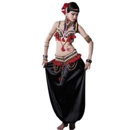 Tribal-Bauchtanz-Perlen verziert Shell Bra Quaste Hüfttuch verstellbarer Gürtel loser Harem Pant Performance-Tanzkleidung Set (Bra + Belt + Pants) von Fabrikanten