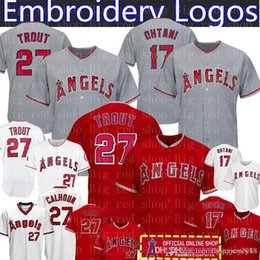 2c34ffefda0 Angels 27 Mike Trout 17 Shohei Ohtani Jersey Mens Los Angeles Baseball  Jerseys Majestic FlexBase Cool Base Embroidery Logos