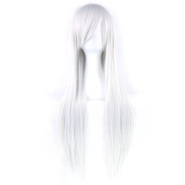 cosplay white straight long hair Promo Codes - 80cm Long Synthetic Hair White Purple Cosplay Wigs Heat Resistant Fiber Party Black Hair Straight Wig Hairpiece for Women