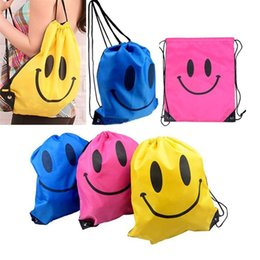 drawstring backpack children Coupons - Fashion Smile Face Drawstring Bag Children Shopping Bags Mochila Bags For Girls And Boys Cartoon Kids Backpack Waterproof