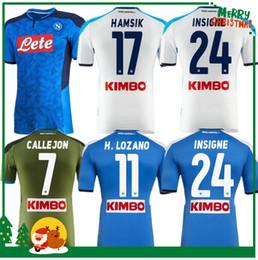 Camiseta de fútbol de nápoles online-2019 2020 Serie A Nápoles Napoli Napoli jerseys caseros del balompié de los jerseys camisa para los hombres 19 20 LOZANO HAMSIK L.INSIGNE jugador shirt