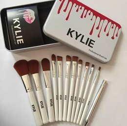 kylie foundation makeup Coupons - makeup brushes Kylie makeup bush 12pcs set Kylie brush foundation blush powder makeup tools metal box top quality free shipping