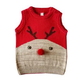 2019 мальчики рождественский жилет Малыш Дети Девочка Мальчик зима Рождество оленей свитер Вязаный теплый жилет пальто мальчиков младенца пальто куртки 2019 NEW W1118 скидка мальчики рождественский жилет