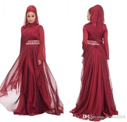 layered purple evening dress Promo Codes - Burgundy Chiffon Formal Long Lace Appliques Evening Dresses With Hijab Long Sleeve 2017 Beaded Pleated Layered Ruffle Arabic Muslim Dress