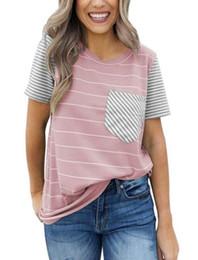 Nueva venta caliente de las mujeres europeas y americanas de primavera y verano a rayas bolsillo remiendo camiseta manga corta desde fabricantes