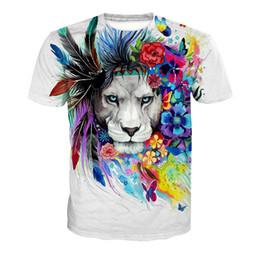 2019 майка льва 3d Мужская футболка Lion Feather Flower 3D Цифровая печатная футболка с принтом для мужчин Повседневные топы Унисекс с короткими рукавами Футболки Футболки Блузки (RT-2402) скидка майка льва 3d