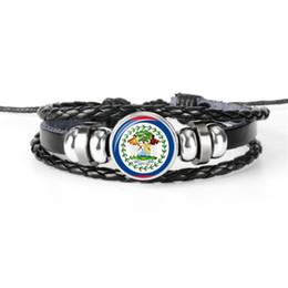 schwarze flagge punk Rabatt Belize National Flag World Cup Fußball Fan Zeit Gem Glas Cabochon Button Armbänder Armreifen Schwarz Leder Seil Perlen Punk Unisex Schmuck