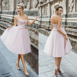 25c55e585b5f Delicate Sweetheart Neckline A Line Tea Length Cocktail Dresses Tulle Lace  Appliqued Pink Short Prom Party Dress Lace Up Homecoming Dress