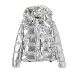 mulher parka de prata Desconto 2019 Hot Venda da Mulher jaqueta de inverno Coats Moda de prata com capuz Parkas Mulher do inverno Mulheres grandes bolsos acolchoados Cotton Parkas Y190926