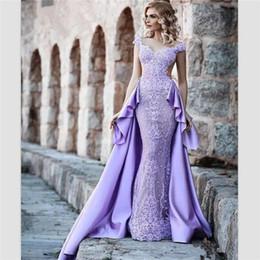 2018 wanshandress фиолетовый атлас русалка вечерние платья пользовательские съемный поезд вечерние платья cap рукава спинки пром платье халат де вечер от