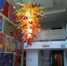 Lumières artistiques de la salle à manger en verre en Ligne-Lustre en cristal de grande taille artistique pour les hauts plafonds dans la salle à manger soufflé à la main en verre d'art