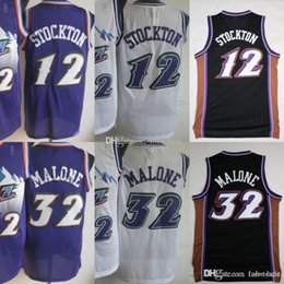 5a32b49d1 Utah Basketball 12 John Stockton Jazzs Jerseys Men Purple White Color 32 Karl  Malone Jersey Vintage Uniforms All Stitched High Quality affordable utah ...