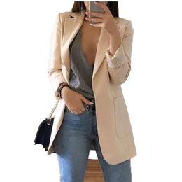 chaqueta de trabajo beige Rebajas Blazer Chaquetas para mujer Traje Estilo europeo 2019 moda de primavera Traje de estilo de trabajo chaqueta de mujer Ropa de abrigo de manga larga