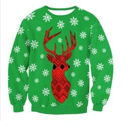 Новые некрасивые рождественские свитера онлайн-Новый рождественский свитер Женская / мужская мода Санта 3D Печатные Смешные уродливые свитера с круглым вырезом с длинным рукавом Повседневная мода Уличная одежда