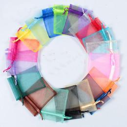 100PCS un colore Sheer Organza Drawstring sacchetti di gioielli in rete, Candy Wedding Party Natale regalo di favore di San Valentino Borse Multi-size, Multi-c da