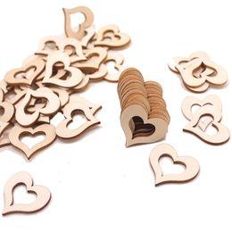 Blank coeur creux en bois embellissements Crafts Blank tranches de coeur en bois pour les arts de bricolage de soirée de mariage Décor ? partir de fabricateur