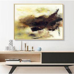 dibujar pintar paisajes Rebajas Carteles e impresiones pintura del arte moderno de la lona abstracto amarillo de oro Negro pared del arte Cuadros para estilo nórdico Decoración