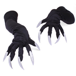 skelett knochen druck Rabatt Halloween Handschuhe Horrible Skeleton Finger Knochen Geist-Greifer Printed Langarm Waschbar Armlinge Scary Cosplay Dekor