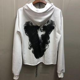 636e962ca6a 2019 Vlone Hoodie Best Version Big V Print Oversized Hoodie Men Women White Hooded  Sweatshirt Hip Hop Streetwear Coat CPI0305