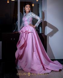 2019 elegante longa manga desfile vestidos Blush rosa sheer mangas compridas vestido de noite elegante lace appliqued a linha de vestido de baile africano longo formal festa pageant vestido desconto elegante longa manga desfile vestidos