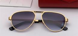 Cajas de madera de lujo online-0101 Lentes de gafas de sol de diseñador de lujo Metal Pilot Gafas hechas a mano Gafas de madera Lentes Láser de calidad superior Protección UV400 Con estuche