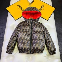 Revestimento reversível on-line-inverno crianças reversível moda de Down Coats Adolescente encapuzados outwear crianças grandes quente ocasional cardigan 110-150
