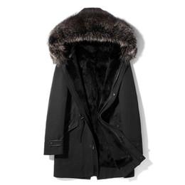 Männer grüne kapuzenarmee jacke online-Winter Parkas Rabbit Fur Coats Herren Shearling Jacken Hood Windbreaker Oberbekleidung Overcoat Thick Warm Snow Wear L-4XL Army Green
