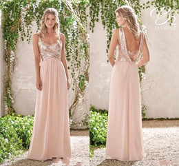 Abito da sposa in rosa d'oro online-Rose Gold Bridesmaid Dresses A Line Spaghetti Backless Sequins Chiffon Cheap Long Beach Wedding Guest Bridesmaids Dress Maid of Honor Gowns