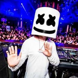 Ha portato la maschera di dj online-spaventoso masmelo DJ casco Cosplay puntelli per casco a LED Maschera di Halloween maschera per il viso Copricapo maschera per festeT2I5223