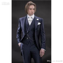 Yeni Tasarım Sabah tarzı Lacivert Damat Smokin Groomsmen erkek Düğün Takımları İyi erkek Takımları (Ceket + Pantolon + Yelek + Kravat) nereden