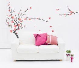 flores adesivos em formato redondos Desconto Pastel rosa flor de cerejeira adesivos de parede decalques mulheres salão de casa quarto sala de jantar decoração primavera flor de ameixa papéis de parede