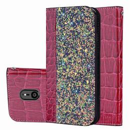 Блестящий кожаный чехол онлайн-Магнитный блеск бумажник Case крокодиловая кожа Bling откидная крышка Kickstand держатель карты для iPhone X XS MAX XR 8 SCA549