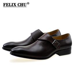 FELIX CHU Diseñador de la Marca Hombres Zapatos de Vestir Hebilla de Monje de Cuero Genuino de los hombres de color Marrón Oscuro Partido de Oficina Zapatos Formales # YC027-318 desde fabricantes