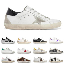 Fashion Luxuries star star Shoes for Men Women Golden Gooses Old Dirty Style Sneakers Black White Silver Genuine Leather Casual Shoegolden g