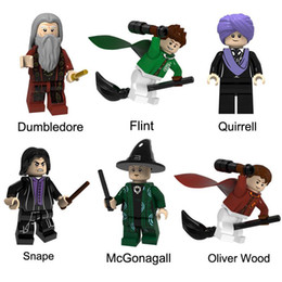 Brinquedo que constrói blocos de madeira on-line-Tijolos Harry Potter Dumbledore Flint Quirrell Snape McGonagall Oliver Wood Mini Toy Action Figure Building Block