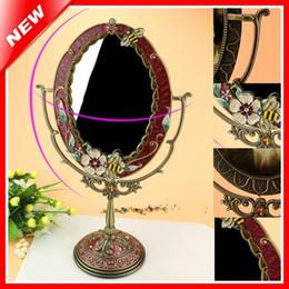 Latas ovais on-line-Cosmetic espelho de vestir mesa de maquiagem pe Espelho Início decorativa liga de estanho antigo beleza Vanity Para Mulher