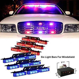 Luces estroboscópicas de emergencia rojas online-54 LED Car Truck Emergency Vehicle Luces estroboscópicas Barras Cubierta de advertencia Dash Grille (Rojo Azul)