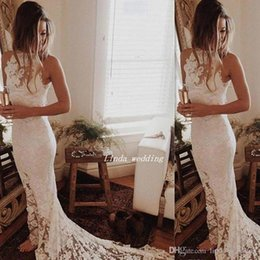 Unici più abiti da sposa di formato online-2019 Bohemian Unique Reception Abito da sposa in pizzo Court Train Long Boho Abito da sposa Plus Size Custom Made