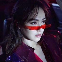 gafas medio marco color rosa Rebajas RBUDDY 2019 Nueva Moda gafas de Sol Estrechas Mujeres Metal Medio Marco Rectangular Gafas de sol Para Mujeres Vintage Negro Rojo Rosa UV400