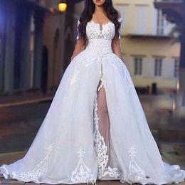 2019 vestido de noiva de tafetá sexy fora do ombro 2018 árabe Branco elegante Off Os vestidos de casamento ombro com Overskirt manga comprida Lace nupcial do casamento vestidos de baile com trem destacável