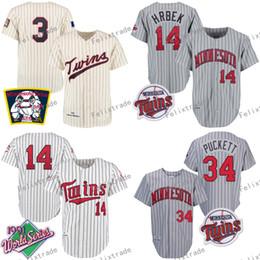 Vintage minnesota trikots online-Minnesota MN Twins 1969 3 Harmon Killebrew 1987 28 Bert Blyleven 1991 Baseball-Trikots von Kent Hrbek Kirby Puckett Vintage Retro
