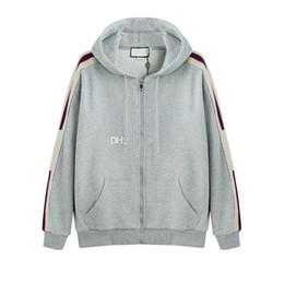 2019 os homens fecham acima o hoodie Cinza Luxo Itália Designer de Moda Nova Marca Com Capuz Zip-up Camisola Com Logotipo Tarja Hoodies dos homens Camisolas Das Mulheres Homem Roupas os homens fecham acima o hoodie barato
