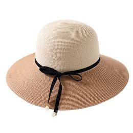 Cappello elegante estivo per le donne online-Lady Fashion Elegant Splice Travel Straw Hat Visor Cap Donna Outdoor Beach Caps Estate Cappelli da donna Casual Sunhat