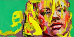 Olio di ritratto moderno online-Modern Portrait 100% Pure Handworked Oil Painting Francoise Nielly Palette Knife Impression Home Opere d'arte Concave e convessa Texture Face240