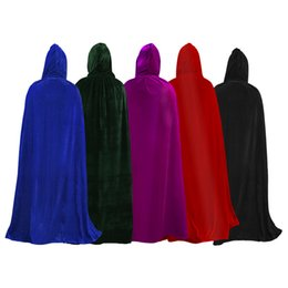 Manteau diable noir en Ligne-Livraison gratuite adulte Halloween Party cosplay Vêtements Long Black Hooded Cape La grande mort Cape cosplay diable Cape