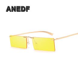 Óculos de sol sem retângulo on-line-ANEDF Mulheres Óculos De Sol Do Vintage Dos Homens Óculos Retângulo Marca Designer Óculos Sem Moldura UV400 Óculos de Sol