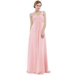 Vestido de noiva de cintura alta pregueada on-line-Rosa mulheres chiffon vestido de dama de honra de cintura alta até o chão de um ombro plissado rendas festa de casamento vestidos de dama de honra vestido de baile